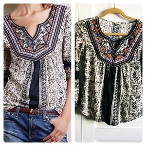 Anthropologie- embroidered peasant top 3/4 sleeve